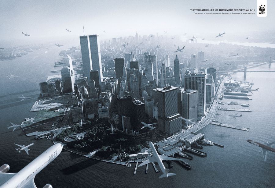 world-wildlife-fund-in-2009-ddb-brazil-made-a-spec-ad-for-the-wwf-that-showed-dozens-of-planes-flying-at-the-twin-towers-the-text-tried-to-justify-the-image-with-the-statement-that-100-times-more-people-died-in-the-2004-tsunami-than-911