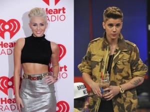 Miley Cyrus og Justin Bieber.