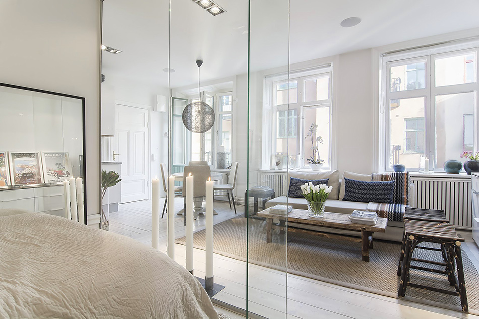 ideas modern apartment Small Apartment in Stockholm Encapsulating A Glass Walled Bedroom