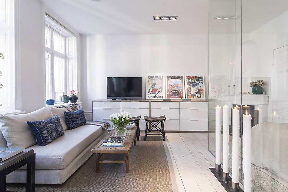 modern apartment 6 Small Apartment in Stockholm Encapsulating A Glass Walled Bedroom
