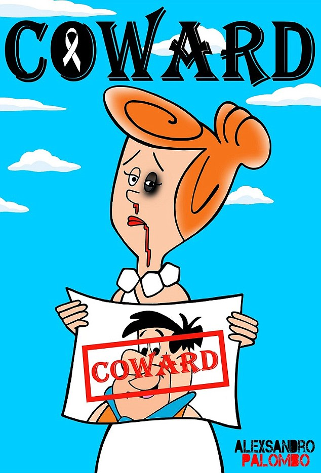 Rocky road: According to the UN 35 per cent of women and girls globally experience some form of physical and or sexual violence in their lifetime. This picture imagines Wilma Flintstone as one such victim