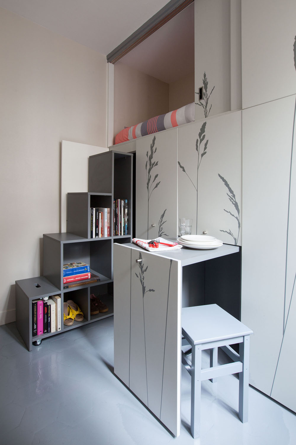 Compact Apartment In Paris by Kitoko Studio 13 Incredibly Small Apartment in Paris Reduces Functions to Minimum