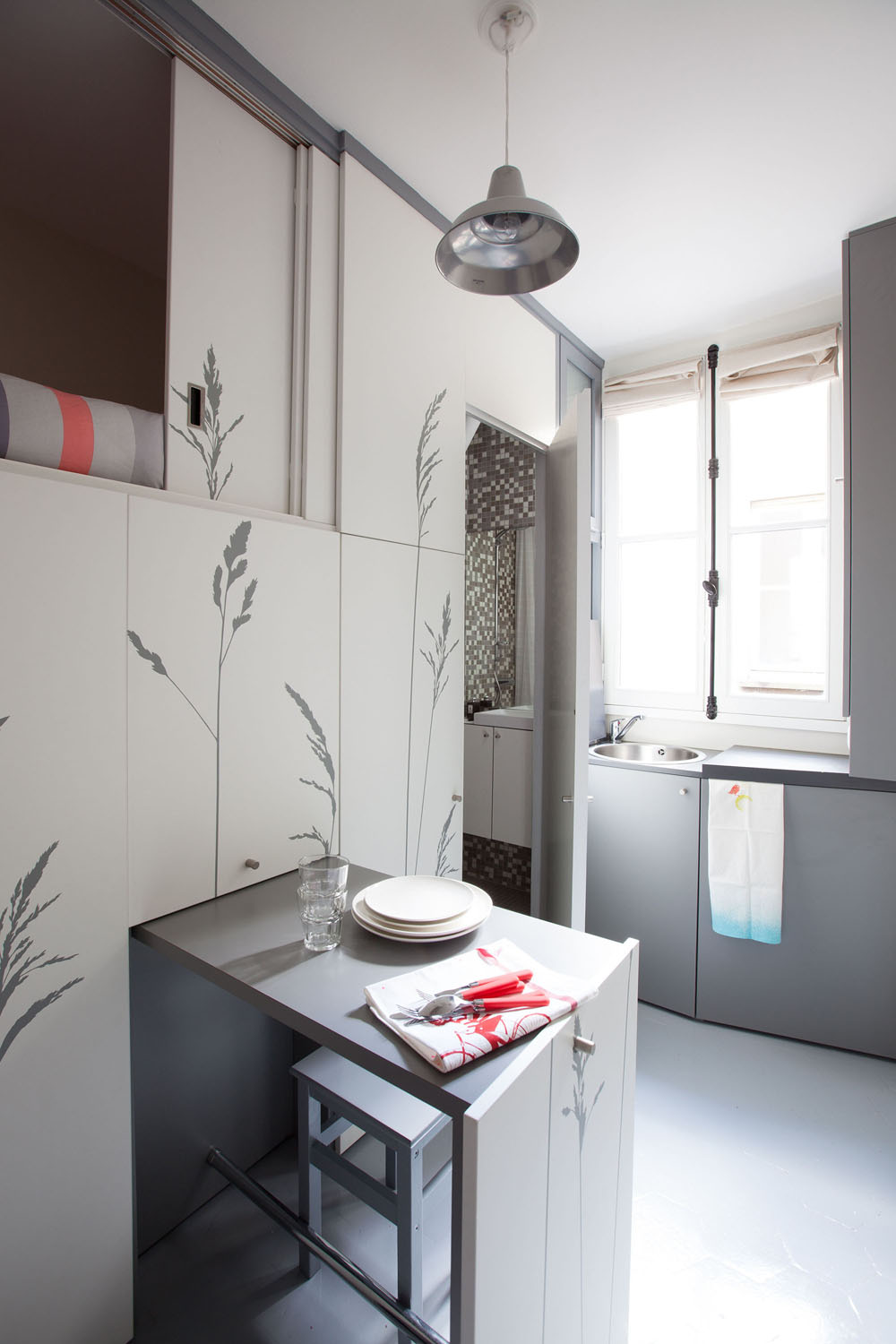 Compact Apartment In Paris by Kitoko Studio 7 Incredibly Small Apartment in Paris Reduces Functions to Minimum
