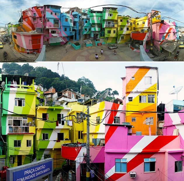 Painted Favela In Santa Marta, Rio De Janeiro, Brazil