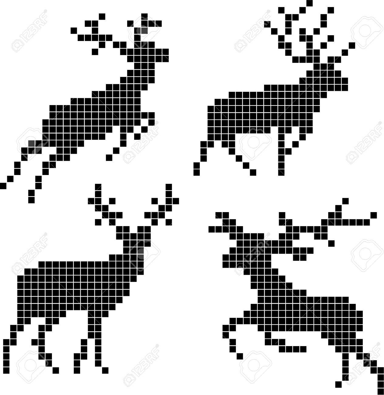 14742831-pixel-silhouettes-of-deers-christmas-pixel-deer