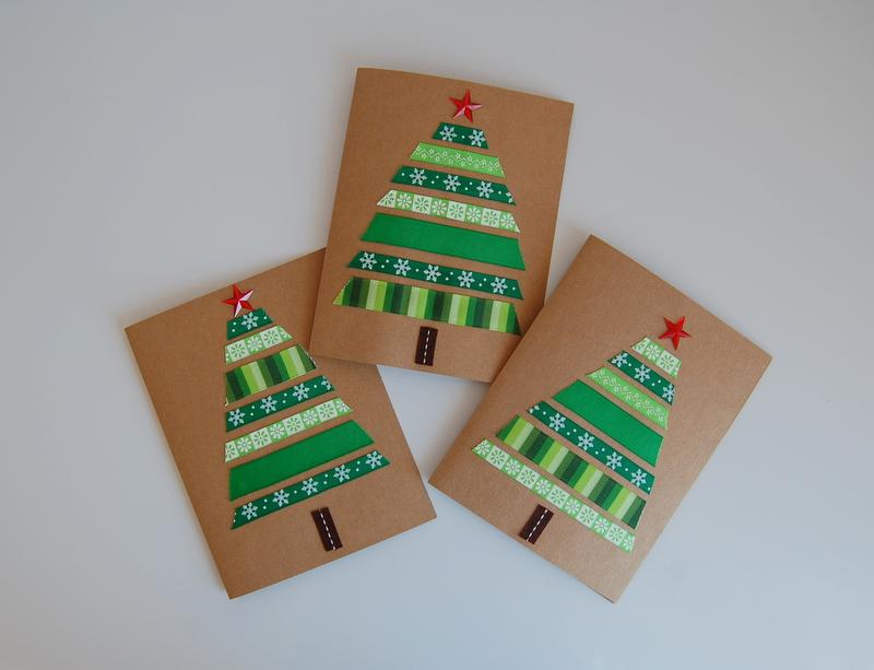DIY-Christmas-card-green-ribbon-trees