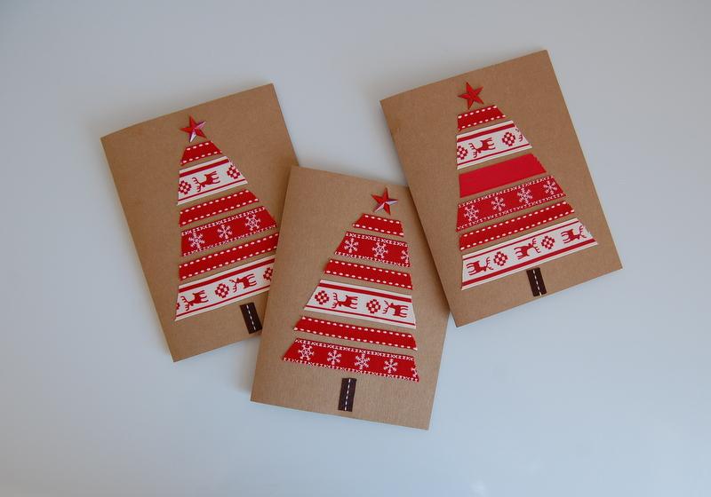 DIY-Christmas-card-red-ribbon-trees