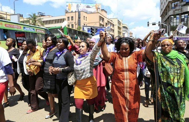 "The hundreds of women in Kenya that protested on the streets in Nairobi after a woman was attacked and stripped by men in public who believe she was ""dressed indecently"" for wearing a mini skirt."