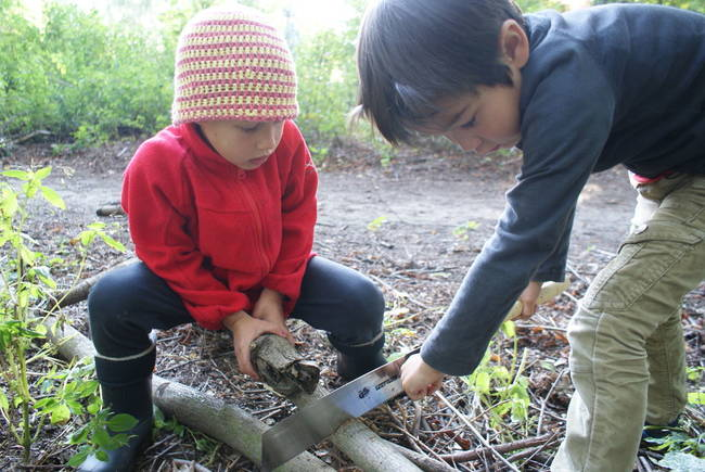 The kids even helped out with the sawing (with adult supervision, of course).