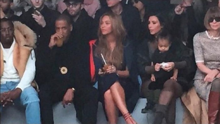 Diddy-Jay-Z-Beyonce-Kim-kardashian-and-North-and-Anna-Wintour-Kanye-West-Yeezy-Season-at-NYFW-700x394