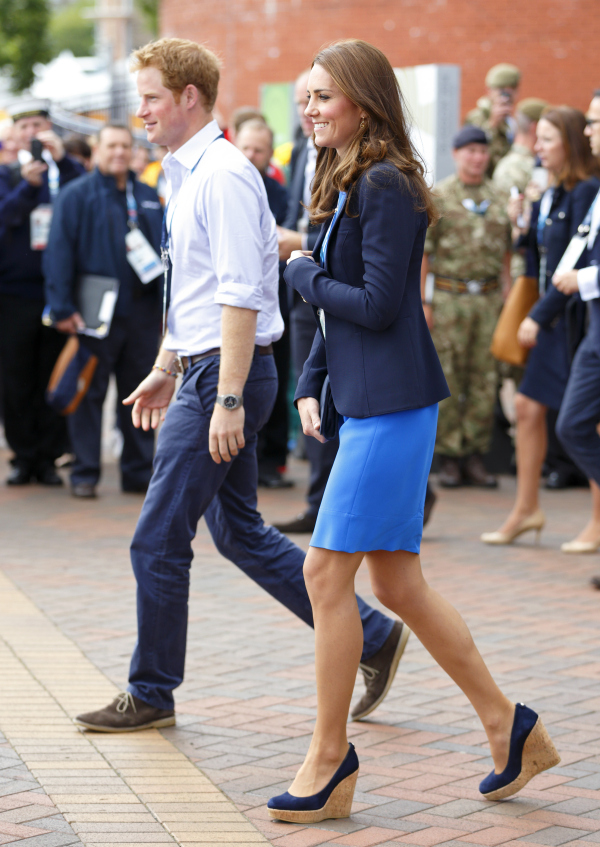 GLASGOW, UNITED KINGDOM - JULY 29: (EMBARGOED FOR PUBLICATION IN UK NEWSPAPERS UNTIL 48 HOURS AFTER CREATE DATE AND TIME) Prince Harry and Catherine, Duchess of Cambridge leave Hampden Park after watching the athletics during the 20th Commonwealth Games on July 29, 2014 in Glasgow, Scotland. (Photo by Max Mumby/Indigo/Getty Images)