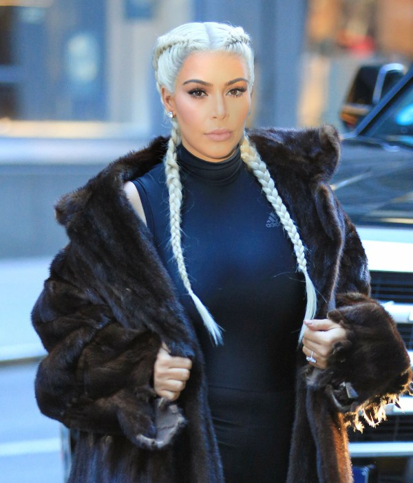 Kim Kardashian wears sports tights under fur coat with braided blonde hair in NYC Pictured: Kim Kardashian Ref: SPL1226850  130216   Picture by: Jackson Lee / Splash News Splash News and Pictures Los Angeles:	310-821-2666 New York:	212-619-2666 London:	870-934-2666 photodesk@splashnews.com
