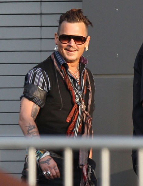 Exclusive... 52110005 Troubled actor Johnny Depp and his Hollywood Vampire bandmate Joe Perry are seen arriving  for their concert at the Sands Casino in Bethlehem, Pennsylvania on July 1st, 2016. Johnny was all smiles despite the drama surrounding his pending divorce from Amber Heard. FameFlynet, Inc - Beverly Hills, CA, USA - +1 (310) 505-9876