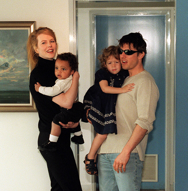 SYDNEY, AUSTRALIA - JANUARY 1996:  (EUROPE AND AUSTRALASIA OUT) American actor, Tom Cruise, with his Australian actress wife, Nicole Kidman, and children, Isabella and Connor, at Jet Charter Centre after arriving in Sydney for a family holiday. (Photo by Newspix/Getty Images)