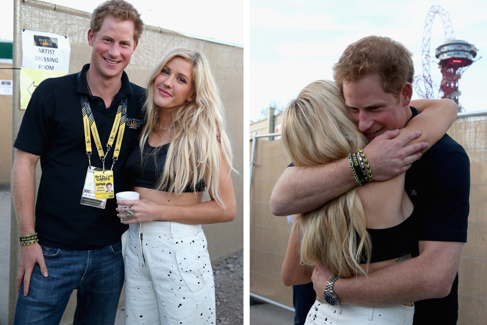 Prince Harry hugs Ellie Goulding backstage at the Invictus Games Closing Ceremony during the Invictus Games at Queen Elizabeth park on September 14, 2014 in London, England. The International sports event for 'wounded warriors', presented by Jaguar Land Rover was an idea developed by Prince Harry after he visited the Warrior Games in Colorado USA. The four day event has brought together thirteen teams from around the world to compete in nine events such as wheelchair basketball and sitting volleyball. composite