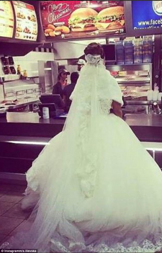One bride kept the hunger pangs at bay by  stopping off at Burger King on the way home