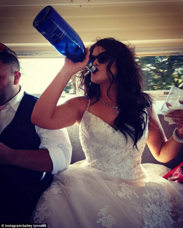 This bride wasn't shy about getting stuck into the booze, happily swigging bubbly directly out of the bottle