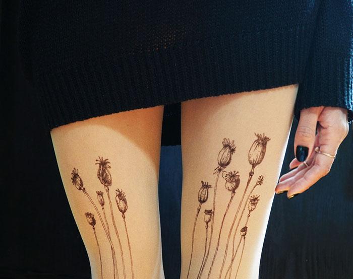 Poppy Tattoo Tights